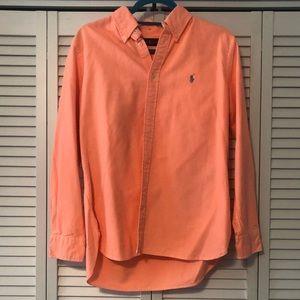 Bright Coral Ralph Lauren Button Down Long Sleeve